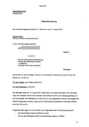 Sitzung des Verwaltungsgerichts am 21.08.2017