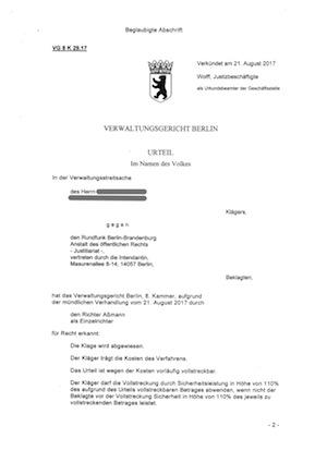 Klage gegen den Rundfunkbeitrag - Urteil
